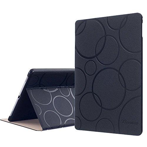 Custodia per iPad Air 2 iPad 6, DEENOR Colour Series Premium PU Pelle Ultra Sottile e Leggero Auto Sonno / Sveglia la Funzione protettivo Custodia Cover per Apple iPad Air 2 iPad 6 Generation.(Black circles)
