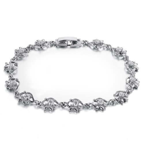Opk Jewellery Fashion Women's Bracelets Inlaid White Shiny CZ Crystal Stones Rhodium Plated Metal Flowers Link Wristband 7.09 Inch Length 7mm Width 6.5g Weight New Style Personality Gift