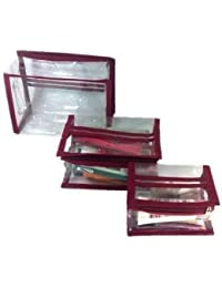 Atorakushon Set Of 3 Jewellery Makeup Kit Vanity Pouch Case Cosmetic Toiletry Folder Bag Box