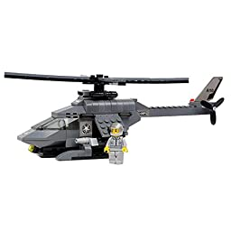 JINPIN Kids Toys 165-Piece Military Helicopter Plastic Blocks Set