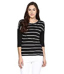 Hypernation Black and White Stripe Round Neck Cotton T-shirt