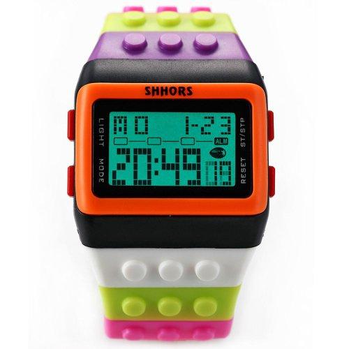 SHHORS Block Silicone Digital Light Mens Lady Sport Wrist Watch Black Orange LED094