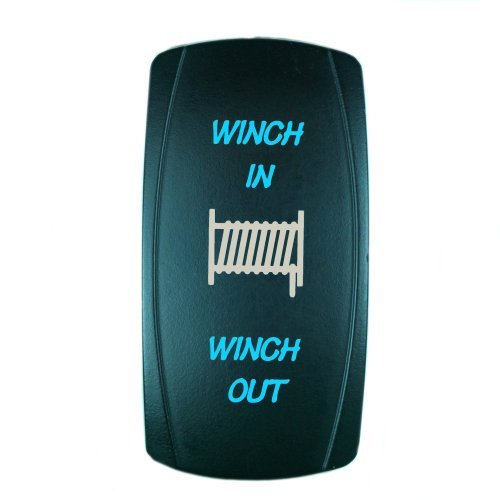 Cheapest Prices! STVMotorsports® Laser Blue Momentary Rocker Switch WINCH IN/OUT 20A 12V (ON)-OFF-(...