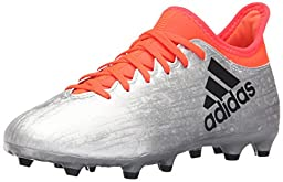 adidas Performance Kids\' X 16.3 Firm Ground Soccer Shoe (Little Kid/Big Kid), Silver Metallic/Black/Indoorfrared, 4.5 M US Big Kid