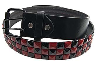 abillo Damen Herren Nietengürtel Nieten Gürtel 3 reihig 4cm breit aus Kunst Leder Gothic Punk Emo Punker Rocker RB3177 Rot 120cm