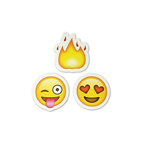 Big 2″ Fire, Tongue Out Wink, & Heart Eyes Emoji Stickers