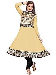 Manvaa Women's Cream Embroidered Anarkali Dress Material