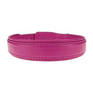 Bitch and Stud Chic Classic Italian Leather Dog Collar, Size 5, Fuchsia