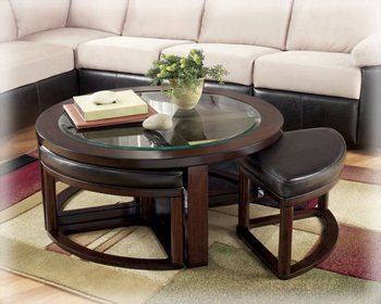 Solid Wood Glass Top Coffee Table w/ Stools