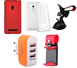 NIROSHA Cover Case Mobile Holder Charger for ASUS Zenfone 6 - Combo