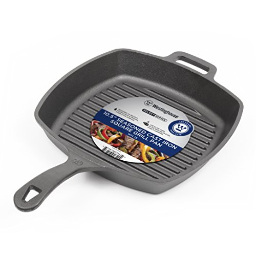 Westinghouse WFL75 Select Series Seasoned Cast Iron 10 1/2 Inch Square Grill Pan - Amazon Exclusive