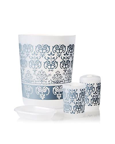 Palace Linens 4-Piece Wastebasket Set, Silver/White