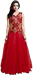 TexStile Womens Fabric Net Gown ( TSG_5_Red_Freesize )
