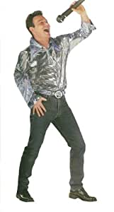 70s Abba Silver Blue Male Fancy Dress Shirt - Medium