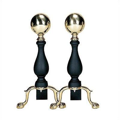 [해외]UniFlame 솔리드 황동 색 검은 색 중간 공 Andirons/UniFlame Solid Brass Black Medium Ball Andirons