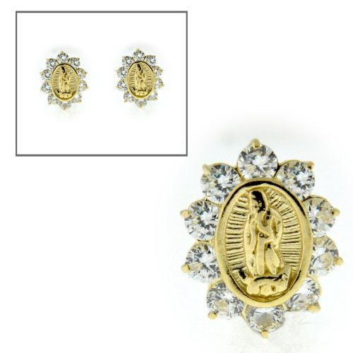10KT Gold CZ Our Lady of Guadalupe Earrings