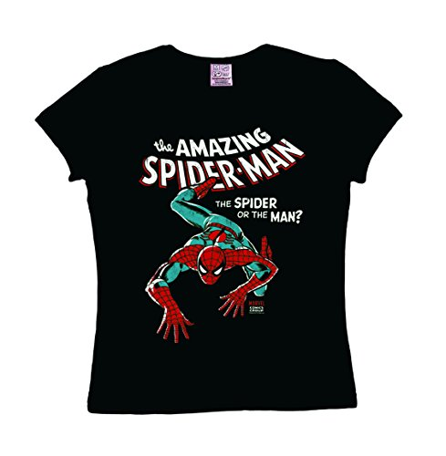 Marvel Comics - Spiderman T-shirt donna - nero - design originale concesso su licenza - LOGOSHIRT, taglia L