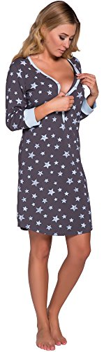 Italian Fashion IF Camicie da Notte per Allattamento Comet 0111 (Blu, M)