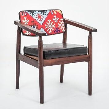 La silla silla de comedor silla de comedor de madera de moda retro Hotel Cafe estudio seminal silla 54*53*73cm,7