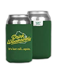 Drink Wisconsinbly Green Can Cooler