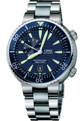 Oris Men's 8555MB Diver Blue Dial Stainless Steel Bracelet Watch