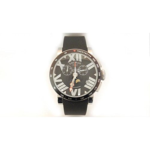 Locman reloj hombre 0294toscanochmoon al cuarzo (batería) acero quandrante negro correa Caucciu '