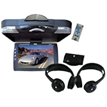 """Pyle Super DVD/Headphones Package for Car/Truck/SUV -- PLRD143IF 14.1"""" Roof Mount TFT-LCD Monitor With Built in DVD Player + PLVWH6 Dual Wireless IR Mobile Video Stereo Headphones with Transmitter."""