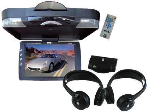 "Pyle Super Dvd/Headphones Package For Car/Truck/Suv -- Plrd143If 14.1"" Roof Mount Tft-Lcd Monitor With Built In Dvd Player + Plvwh6 Dual Wireless Ir Mobile Video Stereo Headphones With Transmitter."