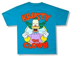 "Bioworld Youth The Simpsons ""Krusty the Clown"" Aqua Blue T-Shirt"