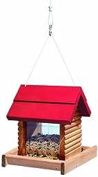North States Hanging Log Cabin Birdfeeder-Red Roof