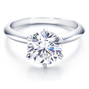 Platinum 6 Prong Solitaire Diamond Engagement Ring with a Round Brilliant Diamond (1 Carat, I-J Color, I2 Clarity)
