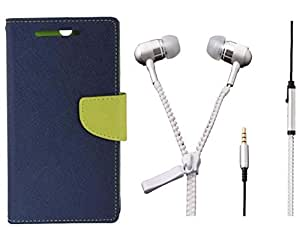 Novo Style Book Style Folio Wallet Case Samsung Galaxy S Dous S7562 Blue + Zipper Earphones/Hands free With Mic 3.5mm jack
