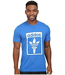 adidas Originals Men's Originals Trefoil Fire Tee, Blue Bird, Medium