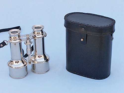 "Chrome Binoculars W/ Leather Case 6"" - Chrome Binoculars With Leather Case"