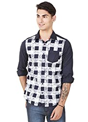 4Stripes Men's Causal Print Shirt (4SSH017_L_NAVY BLUE)