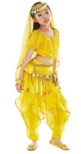 AvaCostume Kids Professional Belly Dance Costume 7 Pieces Sets