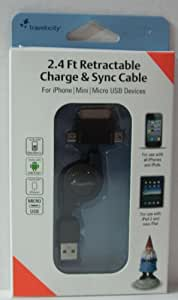 Travelocity 2.4 Ft Retractable Charge and Sync Cable