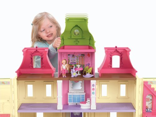 The Dollhouse Has 9 Rooms, A Solarium, Winding Staircase, And Extra Storage Space - Fisher-Price Loving Family Dream Dollhouse with Caucasian Family