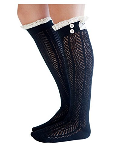 SUNNOW® The Original Button Boot Socks with Lace Trim Boutique Socks by Modern Boho