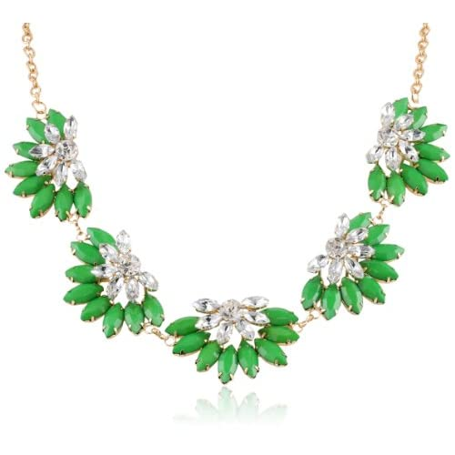 Resin and Crystal Flower Green Statement Necklace, 21.5