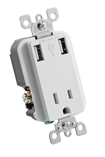 Leviton T5630-W 2.1-Amp USB Charger/Tamper-Resistant Receptacle, 15-Amp/125-Volt, White