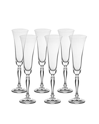 10 Strawberry Street Set of 6 Diana Flutes, Clear