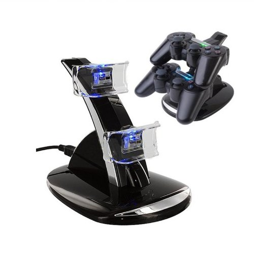 Tabstore Dual Usb Charger Charging Station Dock Replacement For Playstation 3 Ps3 Controller Blue Led Indicator Light