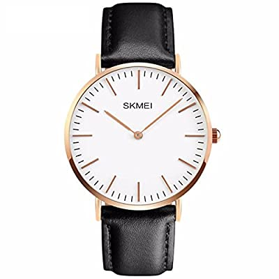 Men's Casual Classic Stainless Steel Case Unique Quartz Analog Waterproof Dress Wrist Business Watch With Black Leather Band - White