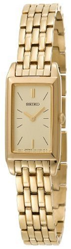 Seiko Women's SUJF78 Dress Baguette Gold-Tone Stainless Steel Watch