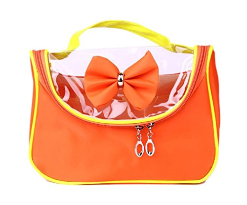 La Vogue Sac Trousse Maquillage Grande Compartiment Pour Rangement Cosmétique Oxford Transparent Noeud Papillon Zippé Imperméable Voyage Taille 24cm*10cm*18cm Orange Vif
