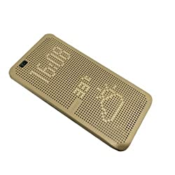 Johra High Quality Dot View Flip Cover Case for HTC Desire 728 (Gold)