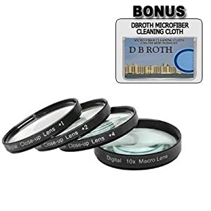+1 +2 +4 +10 Close-Up Macro Filter Set with Pouch For The Canon Powershot S2 IS, S3 IS, S5 IS Digital Cameras