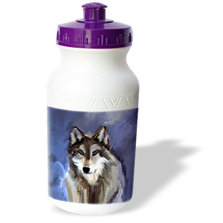 Wb_3347_1 Dinzas Art Animals - Wolf - Water Bottles