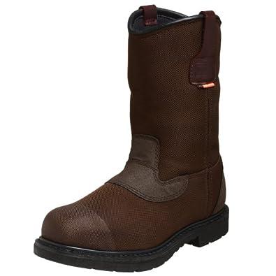 "WORX by Red Wing Shoes Men's 6500 10"" Cordura Pull-on Steel Toe Waterproof Boot,Brown,14 WW"